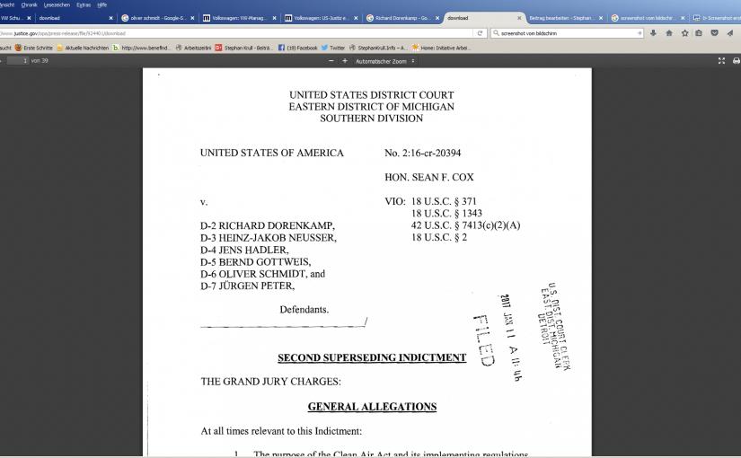#dieselgate: Anklage gegen sechs VW-Manager in den USA