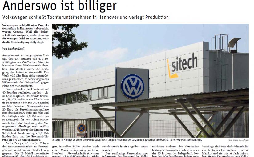 Aussperrung bei VW:  Wer sich nicht beugt, wird bestraft!